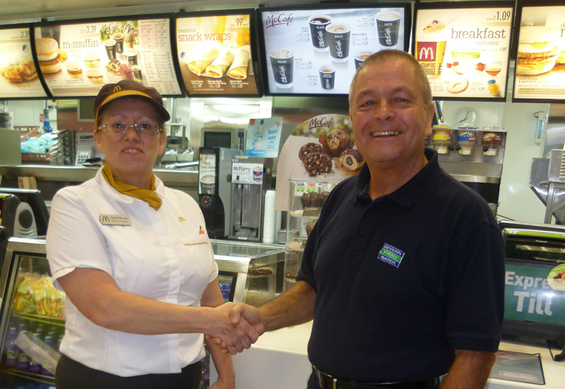 Karen Woods, McDonald's restaurant manager and Chris Allsop, Severn Trent Water community lead