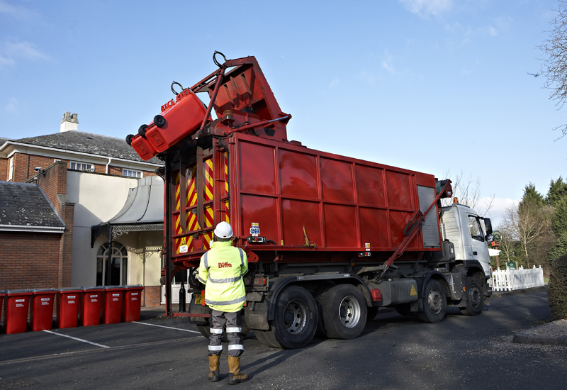 Biffa food containers with truck