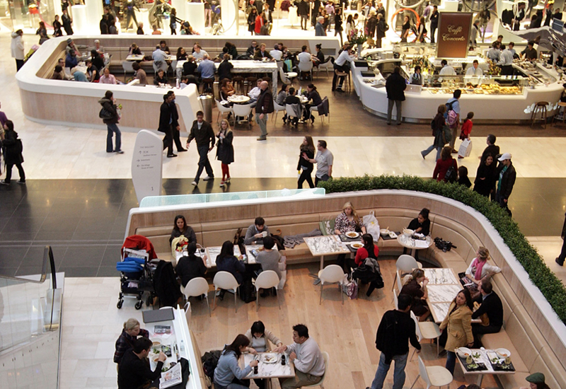 LONDON - NOVEMBER 03:  A general view of shoppers taking a break at restaurant areas at the newly opened Westfield shopping centre on November 3, 2008 in the west London, England.  Despite the current economic downturn in the retail industry, Europe's largest urban shopping mall, which opened to the public this week, is expected to attract 25 million shoppers each year to its 265 shops.  (Photo by Oli Scarff/Getty Images)