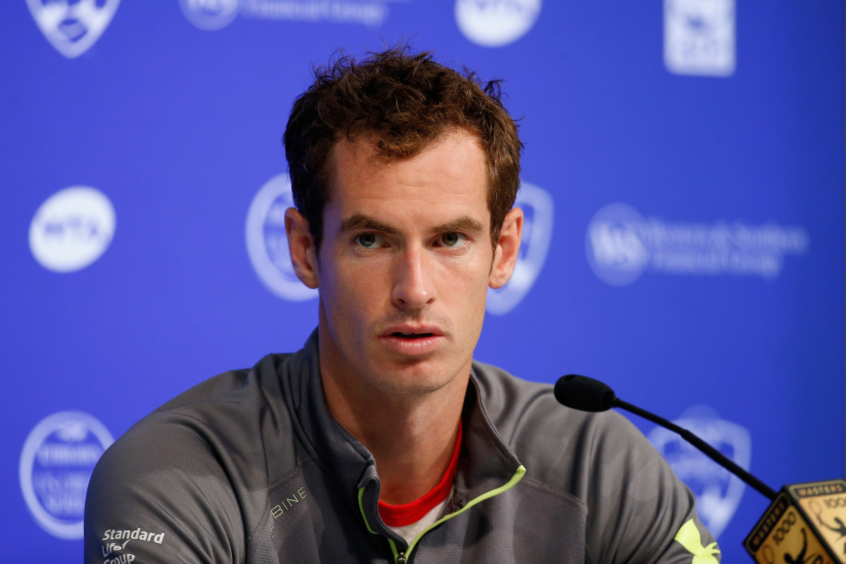CINCINNATI, OH - AUGUST 18:  Andy Murray of Great Britain talks with the media during a news conference during Day 4 of the Western & Southern Open at the Linder Family Tennis Center on August 18, 2015 in Cincinnati, Ohio.  (Photo by Rob Carr/Getty Images)