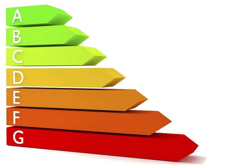 Energy efficiency rating scale 3d illustration