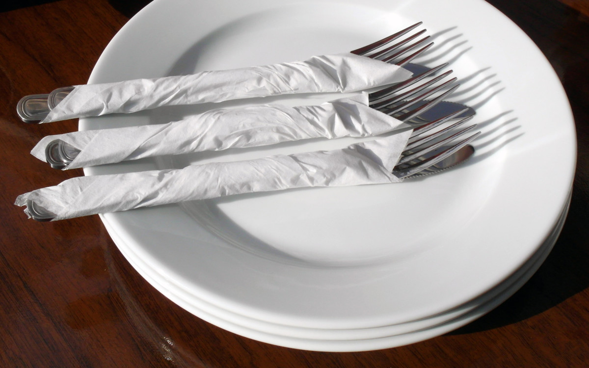 Plate and forks