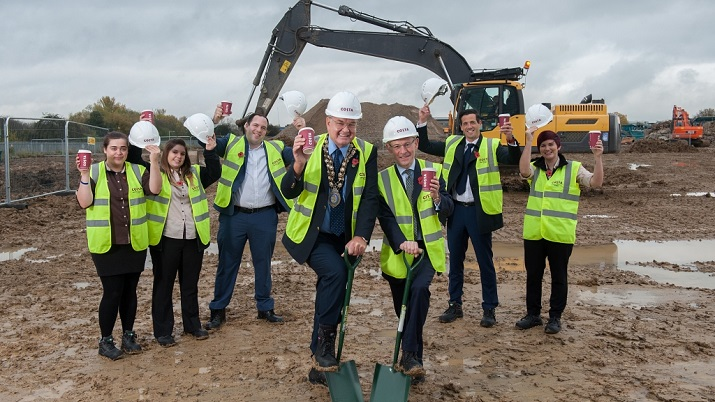 Camargue PR hosts the ground breaking ceremony at the new Costa Roastery (Paradise Road) on Christopher Martin Road, Basildon. Christopher Rogers, Managing Director for Costa and Cllr Don Morris, Mayor of Basildon photographed on their own and with staff from Volkerwessels, Prologis, PBC, Artelia and the local Costa coffee store, 4th November 2015  Photography by Fergus Burnett  Accreditation required with all use - 'fergusburnett.com'