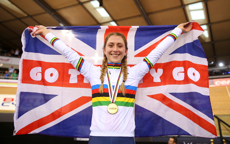 LONDON, ENGLAND - MARCH 06:  Laura Trott of Great Britain celebrates after winning the Women's Omnium during Day Five of the UCI Track Cycling World Championships at Lee Valley Velopark Velodrome on March 6, 2016 in London, England.  (Photo by Bryn Lennon/Getty Images)
