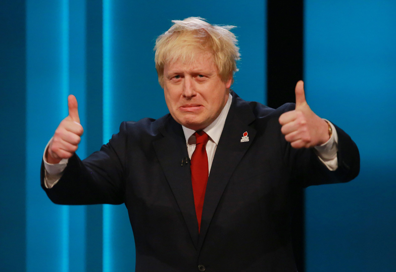 LONDON, UNITED KINGDOM - JUNE 9:  (NO ARCHIVE AFTER JUNE 30, 2016)  In this handout image provided by ITV,  Former Mayor of London Boris Johnson argues for Britain to leave the EU during The ITV Referendum Debate on June 9, 2016 in London, United Kingdom. During the two hour long live debate participants answered questions posed by the audience. Nicola Sturgeon, Angela Eagle and Amber Rudd argued for staying in the EU, whilst Boris Johnson, Andrea Leadsom and Gisela Stuarttake argued for leaving the EU. (Photo by Matt Frost/ITV via Getty Images)