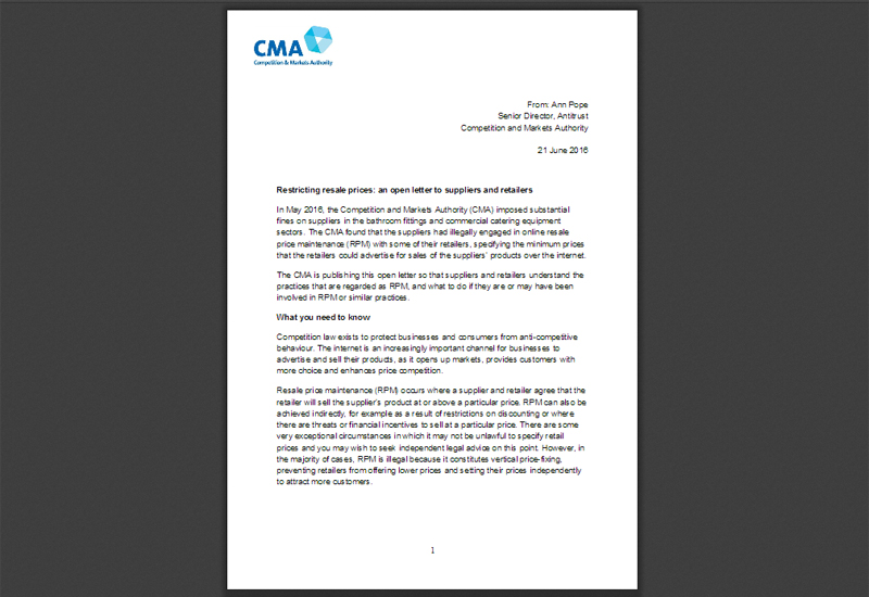 CMA Letter Warns Restriction on Internet Prices is Illegal