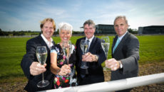 Mount Charles has announced the launch of a new division, Mount Charles 'Drink' which will service bar & beverage contracts for external events.  The news comes as the company celebrated a high profile, three-year beverage contract win with Down Royal racecourse in Lisburn, which will boost the company's revenue by around £400,000 per annum.  L-R: Mike Todd, General Manager at Down Royal, Pamela Ballantine, Chair of the Hospitality Committee at Down Royal, Trevor Annon, Chairman of Mount Charles and Jim Nicholson, Chair of Down Royal.