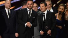 LONDON, ENGLAND - JANUARY 25:  Ant and Dec accept the Best Challenge Show award for I'm a Celebrity... Get Me Out of Here, on stage during the National Television Awards at The O2 Arena on January 25, 2017 in London, England.  (Photo by Jeff Spicer/Getty Images)