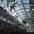 The ceiling of Covent Garden Market is lined with giant mistletoe as part of it's Christmas light display in central London on November 26, 2016 / AFP / NIKLAS HALLE'N        (Photo credit should read NIKLAS HALLE'N/AFP/Getty Images)