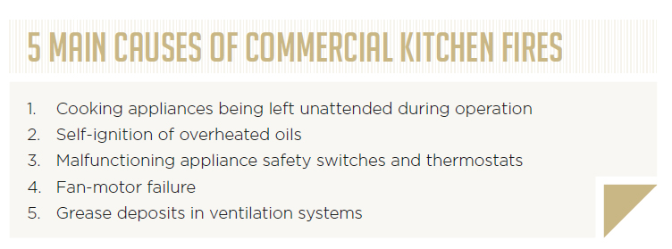 5 main causes of commercial kitchen fires