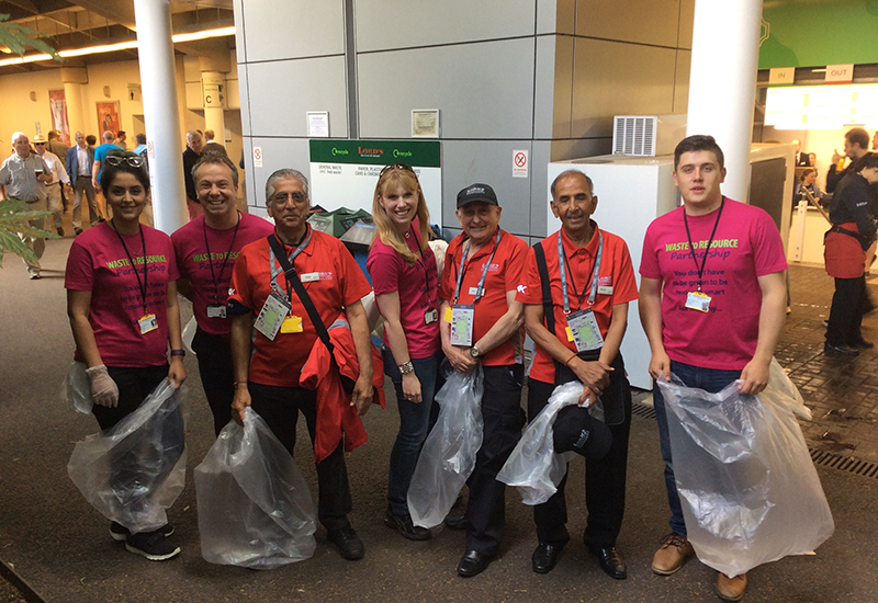 Bunzl and Lords volunteers, plastic cups initiative