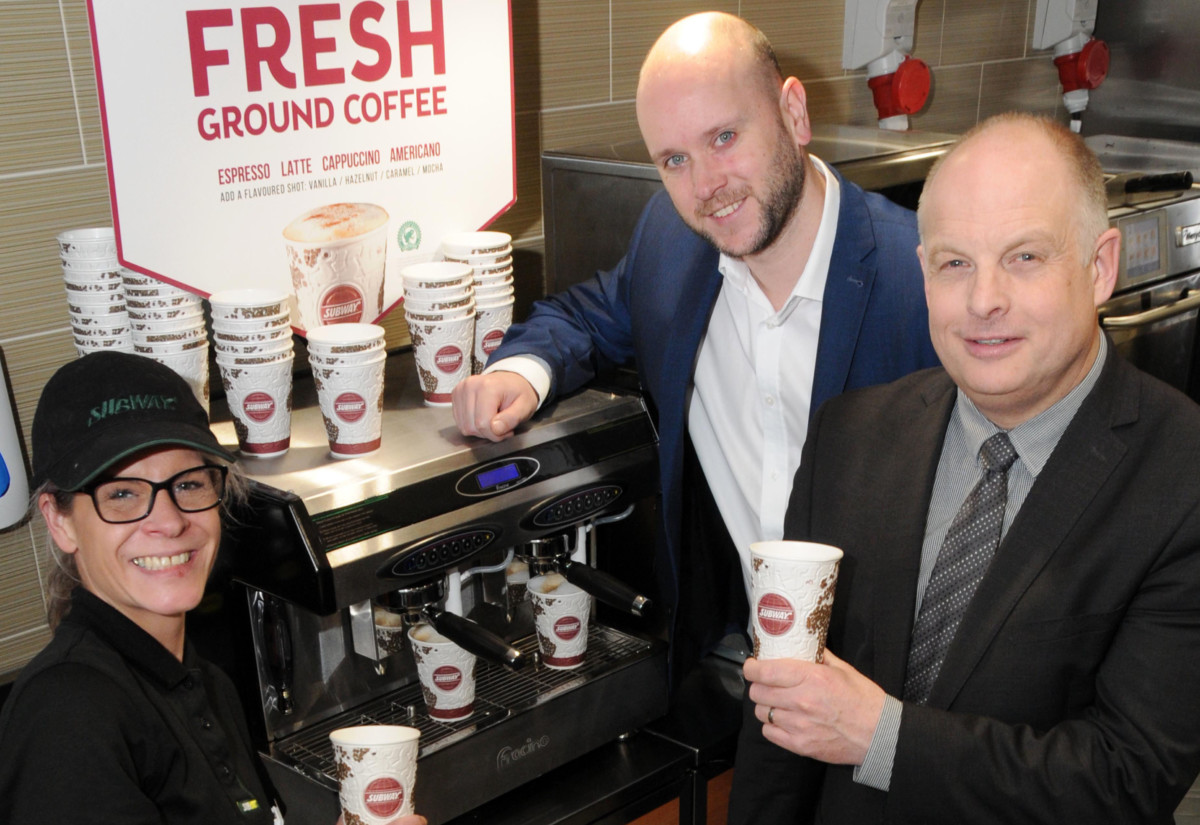 Left to right: Caroline Wilkinson, Subway assistant manager, Richard Mills, IPC Europe, and Peter Atmore, Fracino