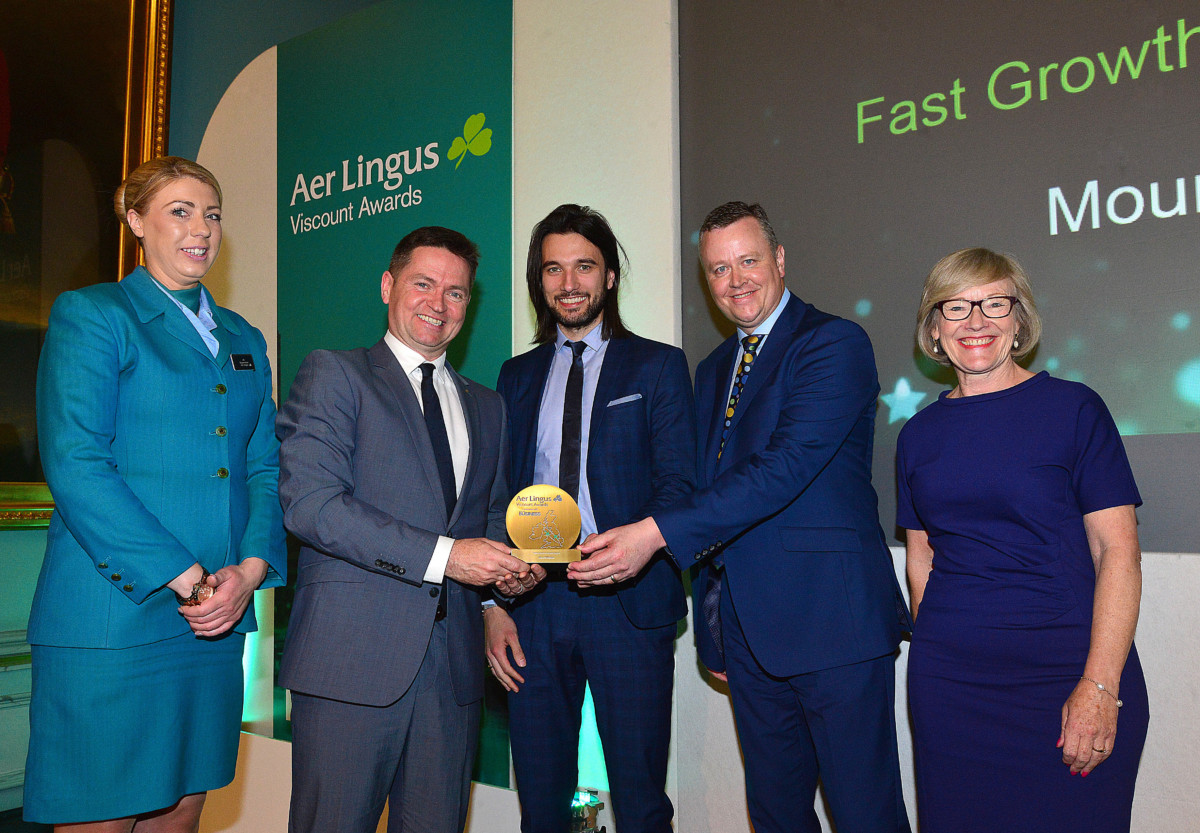 Jo Freeman, cabin crew member, Declan Kearney, Director of Communications Aer Lingus, Gavin Annon, Cathal Geoghegan, Mount Charles and Wendy Austin (Fast Growth Business Award)