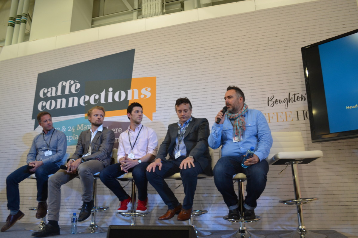 Ben Townsend, trainer, London School of Coffee; Sebastian Vibe-Petersen, export sales, Scanomat; Dale Harris, wholesale director, Has Bean; Tim Sturk, head of coffee training and development, BaxterStorey; Rob Ward, group coffee specialist, Gruppo Cimbali