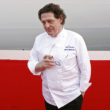 British chef Marco Pierre White poses for a photograph ahead of the naming ceremony for the new P&O Cruises ship at the Ocean Cruise Terminal during the inaugural celebrations and naming ceremony  in Southampton Docks on March 10, 2015. Britannia is the largest cruise ship built for P&O Cruises and will take the fleet to eight ships. She will be able to accommodate up to 3647 passengers and 1350 crew over eighteen decks and will feature a collection of work by contemporary British artists. The Queen has previously launched the QE2 in 1967, Oriana in 1995, Queen Mary 2 in 2004 and Queen Elizabeth in 2010. AFP PHOTO / ADRIAN DENNIS        (Photo credit should read ADRIAN DENNIS/AFP/Getty Images)