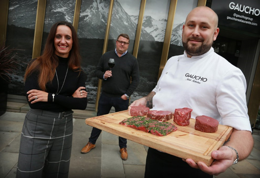 Tracey Matthews, group chief operating officer, Matt Ford, marketing director and Jamie Robertson, chef director