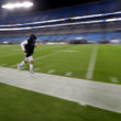CHARLOTTE, NC - NOVEMBER 13:  Cam Newton #1 of the Carolina Panthers runs onto the field to warm up before their game against the Miami Dolphins at Bank of America Stadium on November 13, 2017 in Charlotte, North Carolina.  (Photo by Streeter Lecka/Getty Images)