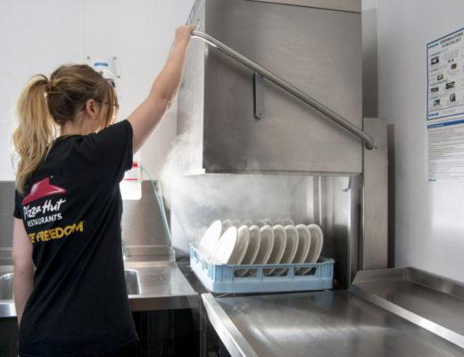 20 July 2017. Hobart dishwasher at Pizza Hut, White Rose Shopping Centre, Leeds.