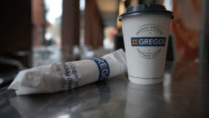 MANCHESTER, ENGLAND - JANUARY 05: In this photo illustration a Greggs disposable coffee cup and sausage roll sits on a table on January 05, 2018 in Manchester, England. Some members of the UK Parliament are calling for a 25p levy on all disposable coffee cups to drive consumers to the re-usable variety and to fund the costs of recycling. (Photo illustration by Christopher Furlong/Getty Images)