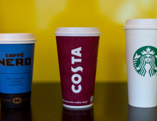 LONDON, ENGLAND - FEBRUARY 18:  (L-R) A grande Cafe Nero, large Costa Coffee and venti sized Starbucks take away cup on February 18, 2016 in London, England. Yesterday Action on Sugar announced the results of tests on 131 hot drinks which showed that some contained over 20 teaspoons of sugar. The NHS recommends a maximum daily intake of seven teaspoons or 30 grams of sugar.  (Photo by Ben Pruchnie/Getty Images)