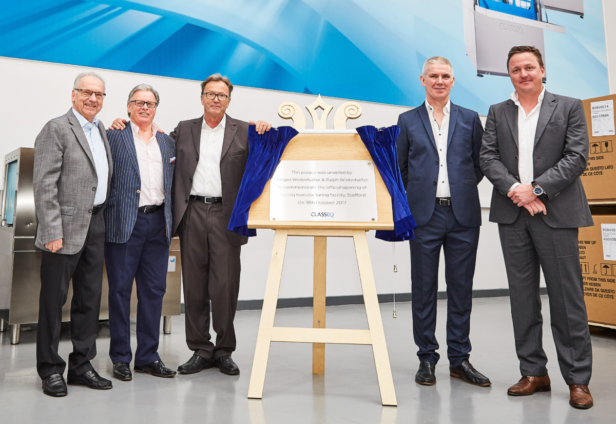Jurgen Winterhalter (third left) and Ralph Winterhalter (far right) at opening of Classeq manufacturing plant in Stafford