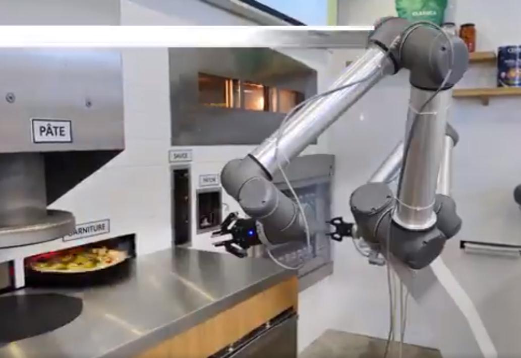 Three-armed kitchen robot wired to move like a pizza chef ...