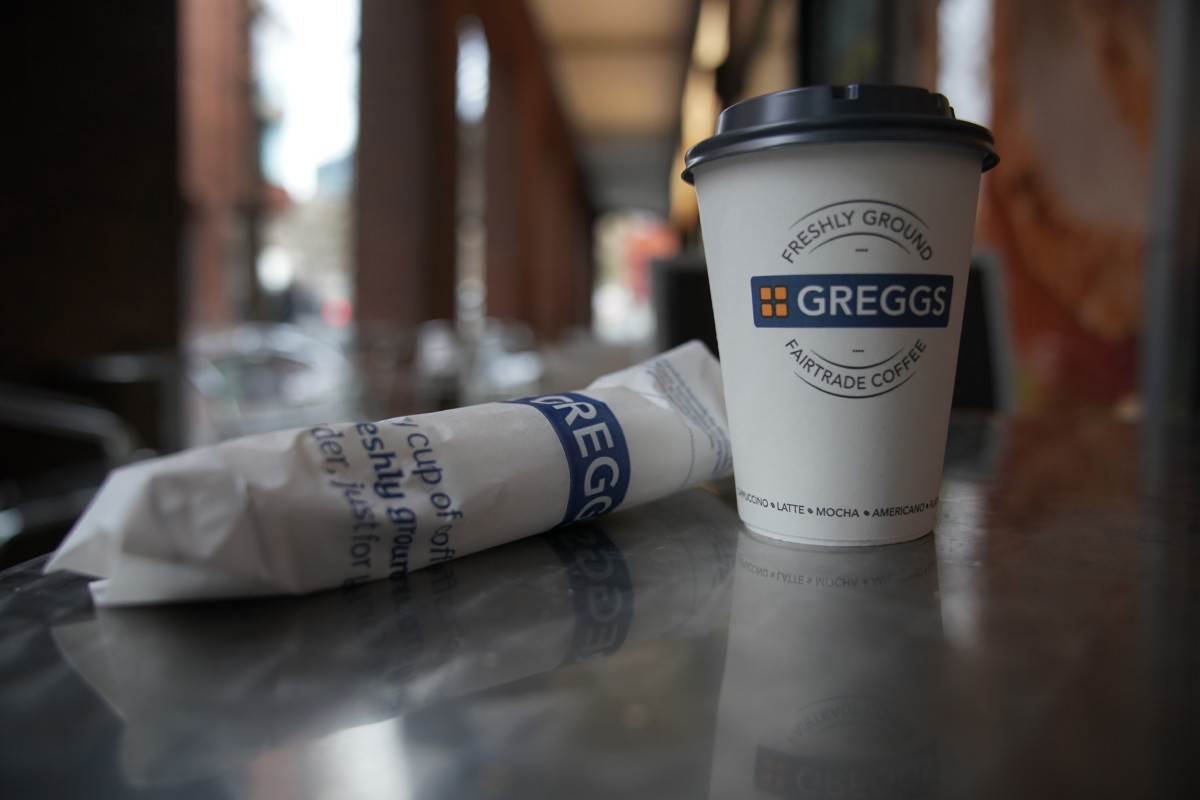 Greggs coffee cup and paper bag