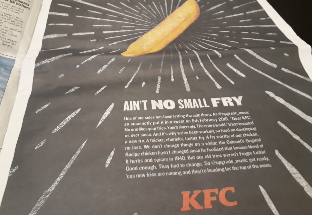 KFC newspaper advert fries