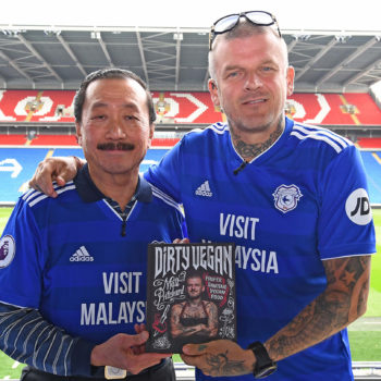 Tan Sri Vincent Tan, owner, Cardiff City FC and celebrity chef Matt Pritchard